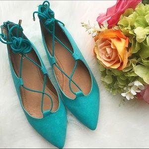 EUC Turquoise lace up flats